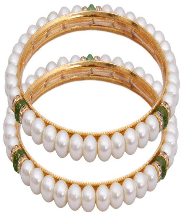 Classique Designer Jewellery White & Green Bangle Set