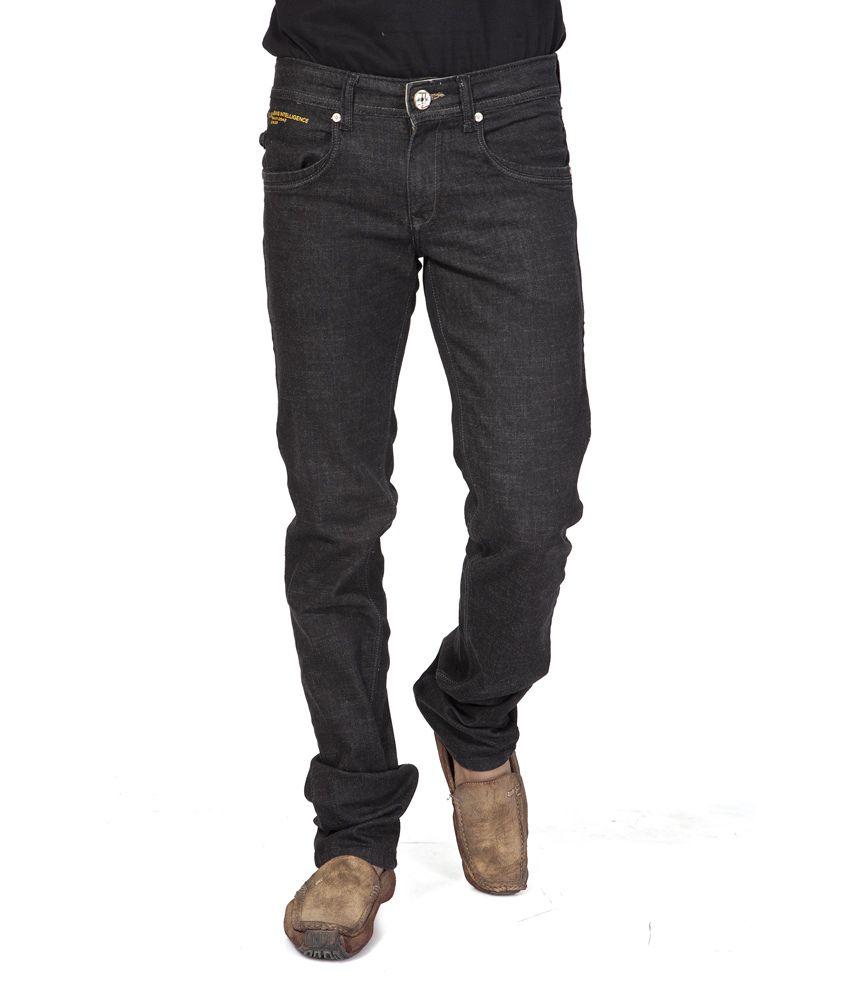 Fumere Black Cotton Blend Basic Slim Jeans