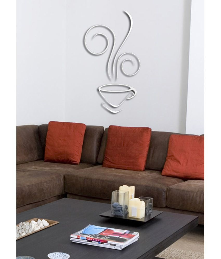 planet decor silver mirror finish tea cup wall stickers. Black Bedroom Furniture Sets. Home Design Ideas