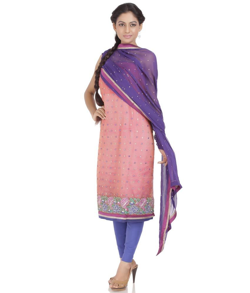 Purple art silk embroidery suit dress material with