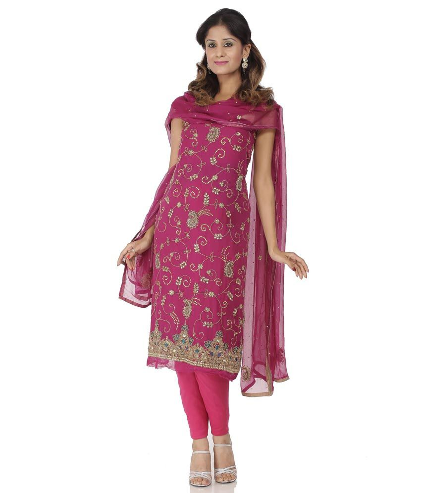 Purple Faux Georgette Embroidery Suit Dress Material With Dupatta