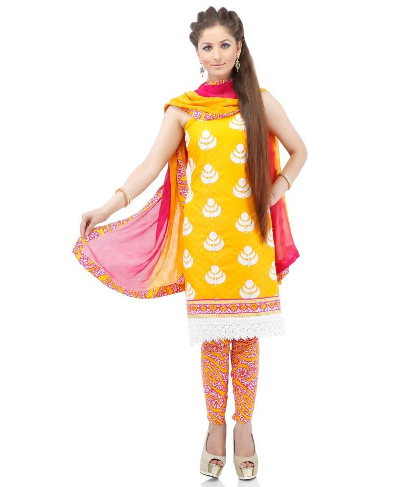 Yellow cotton embroidery suit dress material with dupatta