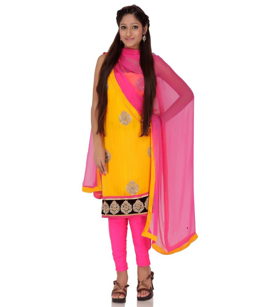 Yellow Silk Embroidery Suit Dress Material With Dupatta