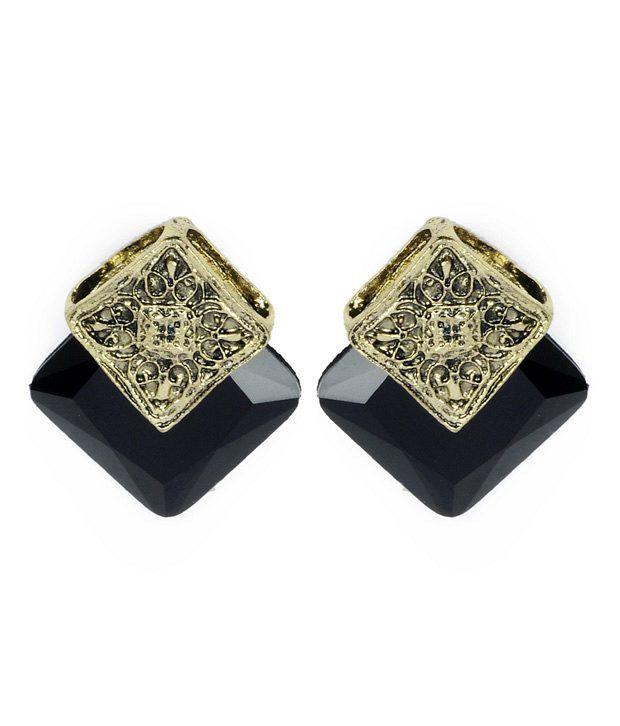 Cinderella Fashion Jewelry  Stunning Black Stone Ear Studs