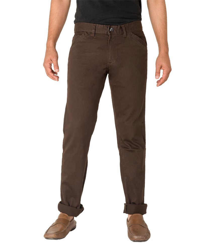 Imyoung Brown Cotton Blend Slim Casuals Chinos