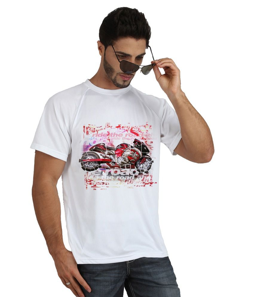 Trionic Men's Printed Round Neck T-shirt - Redbike - Snow White