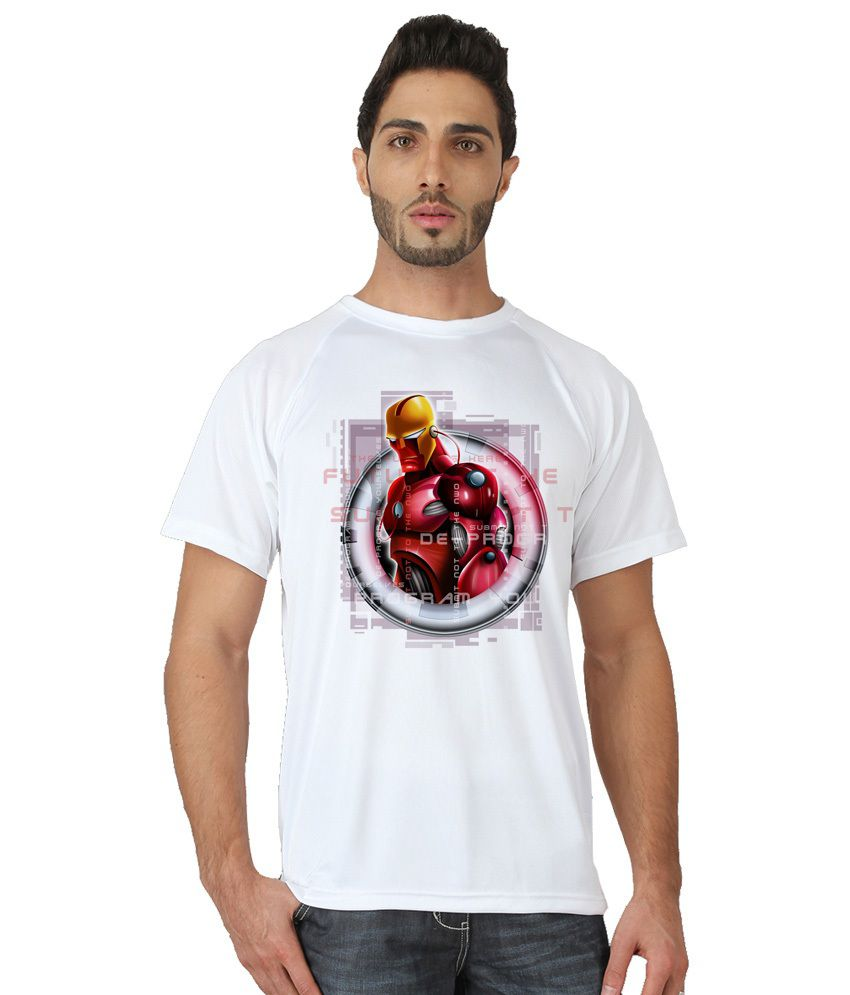 Trionic Men's Printed Round Neck T-shirt - Redman - Snow White