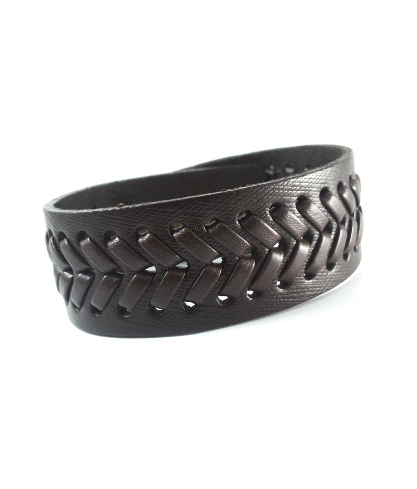 Ammvi Creations Thick Tanned Leather Bracelet With Sews Pattern For Men