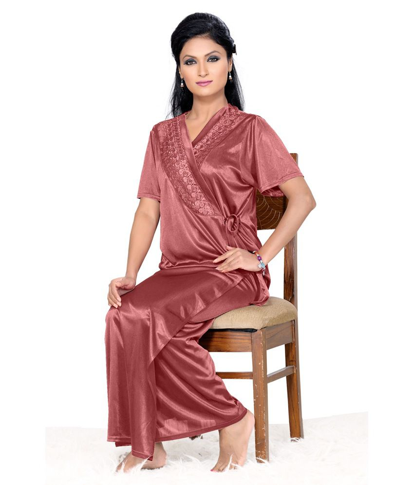 Buy Go Glam Red Satin Nighty   Night Gowns Pack of 6 Online at Best ... 26b553683