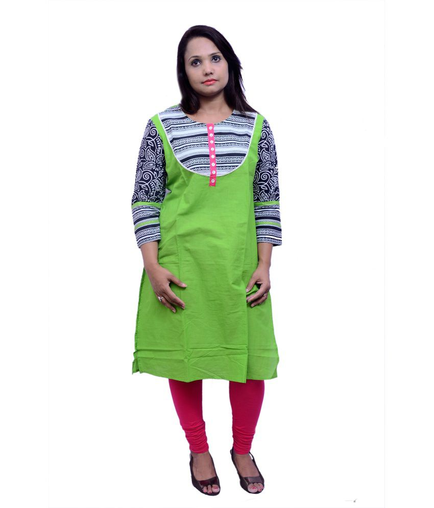 Laado Green Printed Cotton Kurti