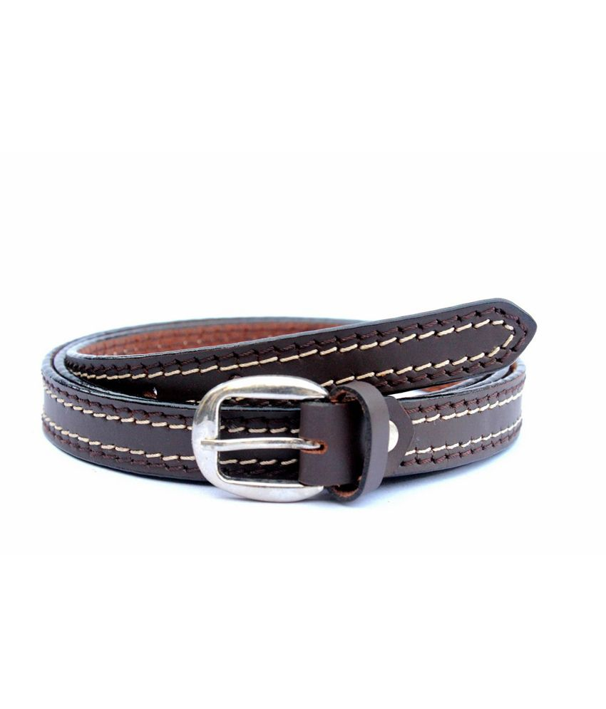 Tops Men Brown Sleek Leather Belt