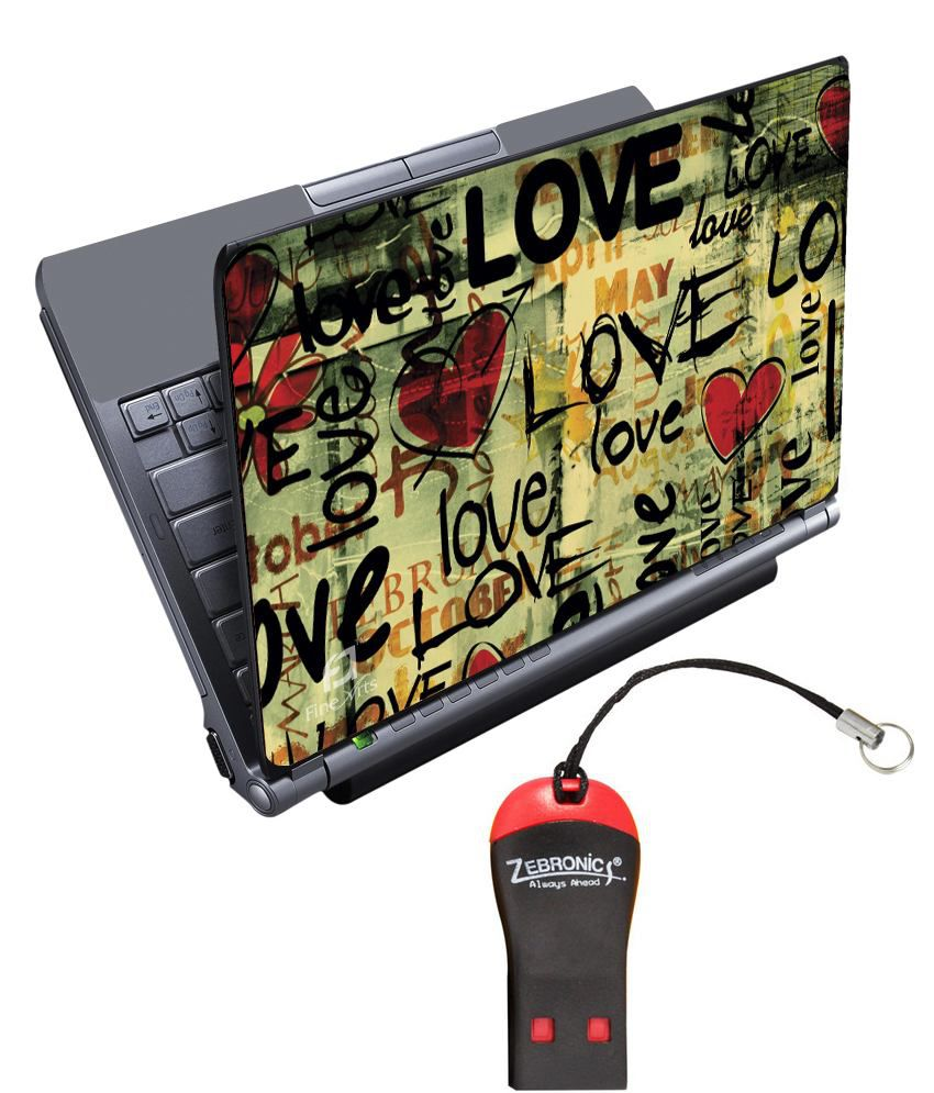 Finearts Textured Laptop Skin With Card Reader - Love Month Yellow Printed