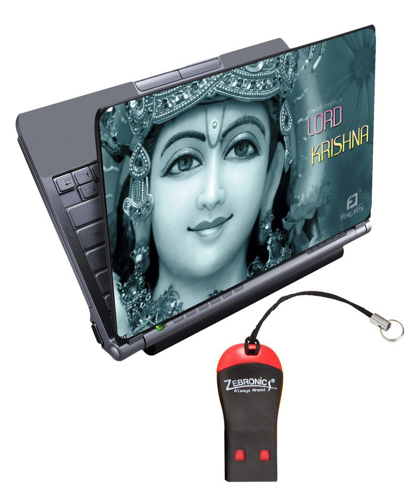 Finearts Textured Laptop Skin With Card Reader - Lord Krishna Printed