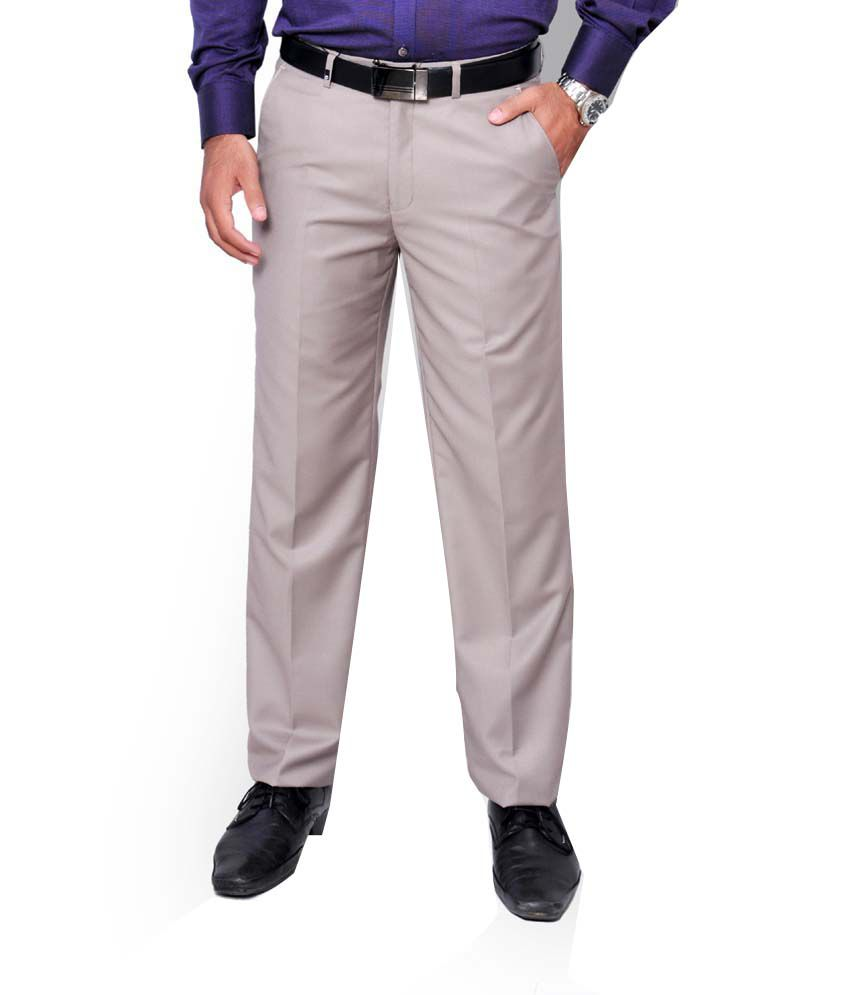 Oxemberg Men Cream Regular Formal Trousers