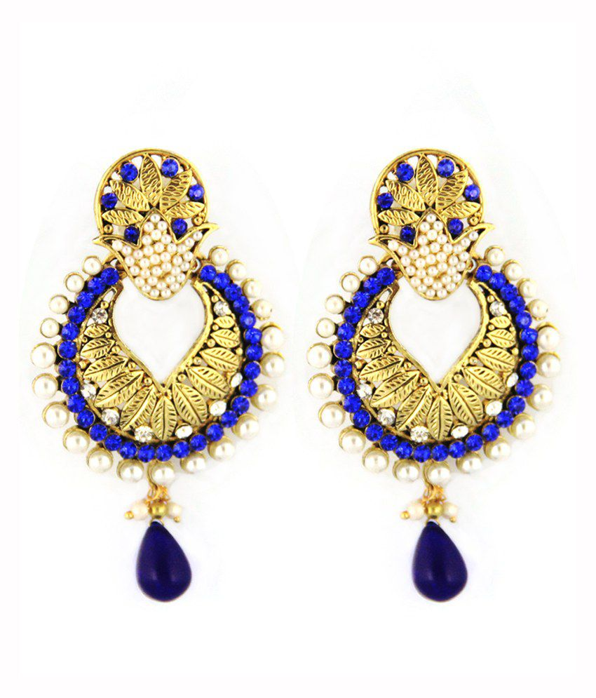 Rg Antique Blue Wedding And Engagement Alloy Earring