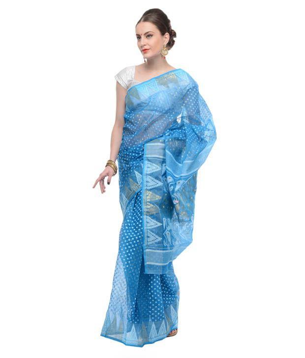 5bc5ca7508 Samayra Blue Base White And Golden Muslin Cotton Dhakai Jamdani Saree - Buy  Samayra Blue Base White And Golden Muslin Cotton Dhakai Jamdani Saree  Online at ...