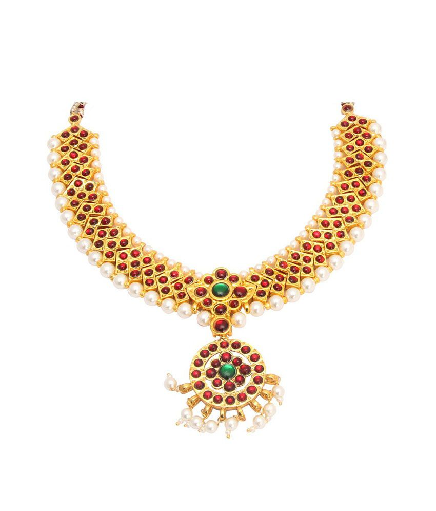 Vama collections one gram gold plated dance temple jewellery kempu vama collections one gram gold plated dance temple jewellery kempu stone necklace for women girls mozeypictures Image collections