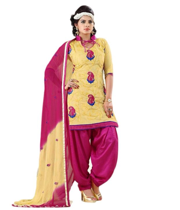 Fadattire Yellow Chanderi Unstitched Dress Material
