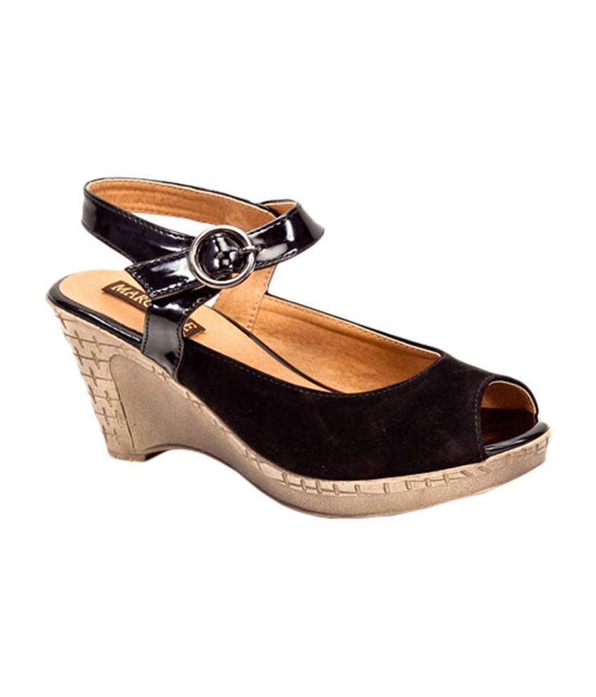 Marc Loire Black Wedges Sandals