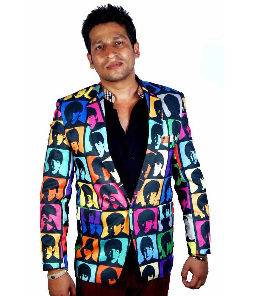 Kt Multi Colour Poly Blend Party Wear Printed Blazer