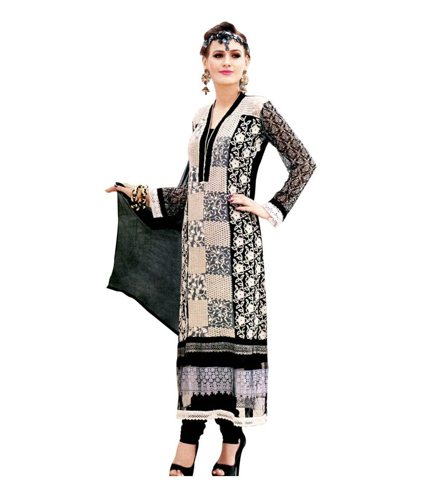 Aj Georgette Black-white Embroiderd Semi-stitched Suit With Duppatta
