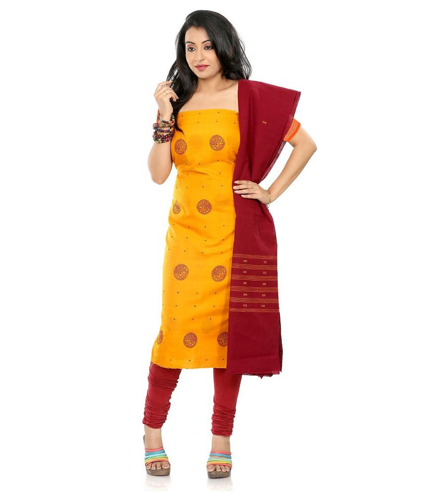 3c3b3978ae Fashion Handloom Yellow and Red Cotton Sambalpuri Dress Material - Buy  Fashion Handloom Yellow and Red Cotton Sambalpuri Dress Material Online at  Best ...