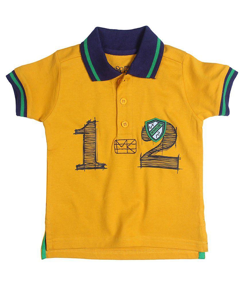 Fs Mini Klub Short Sleeves Mustard Color Polo T-Shirts For Kids