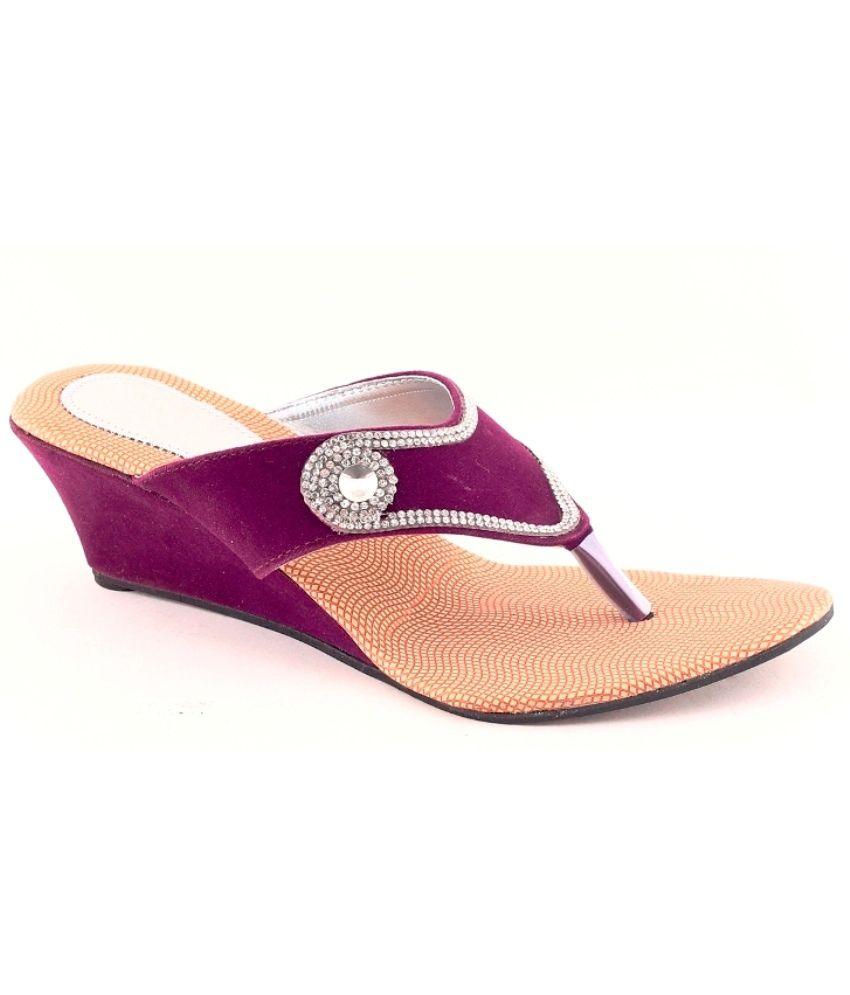 Grafion Purple Suede Heeled Slip-on