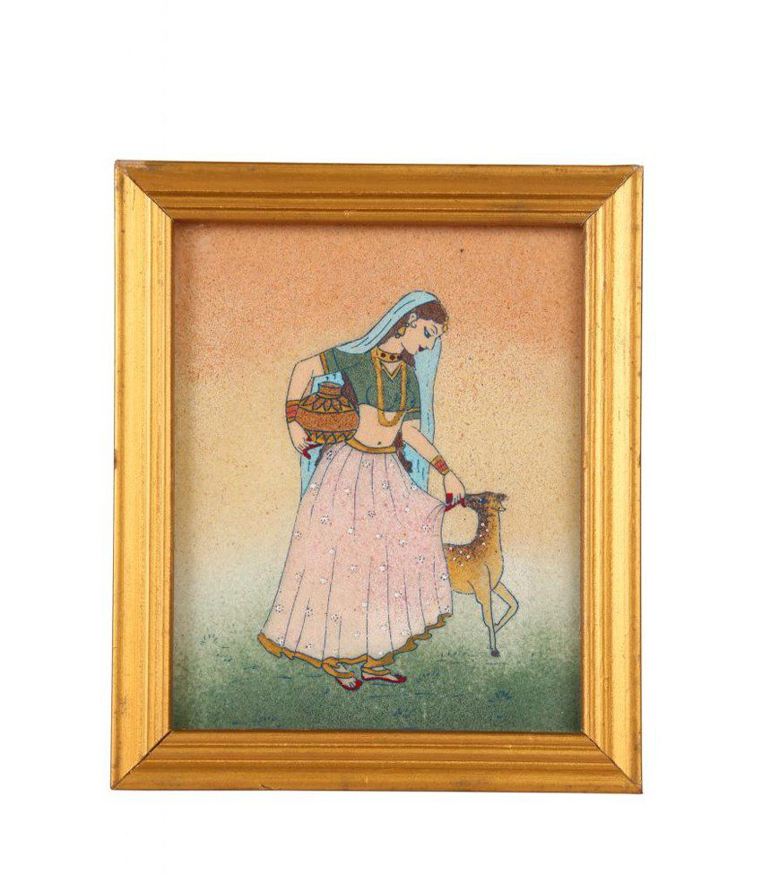 Satyamani Loving Collection Radha Playing With Deer Handicraft Painting In Natural Crystals