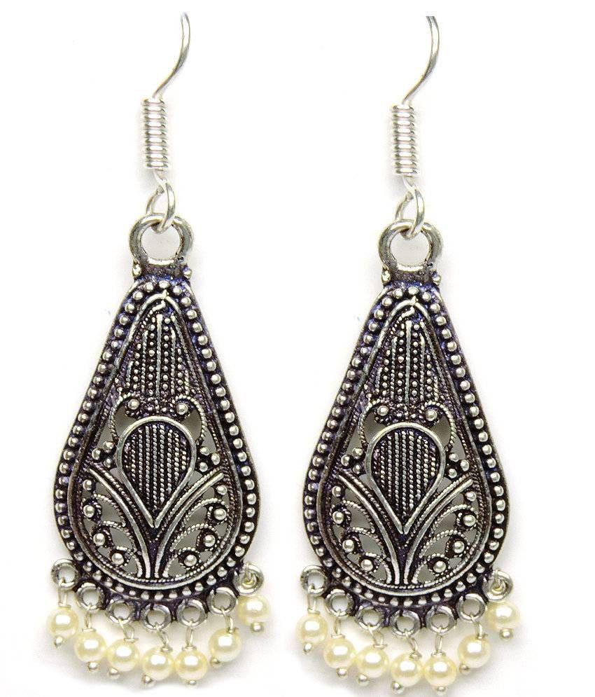 Silvantra Designer Jhumka Dangle Style German Silver Earrings