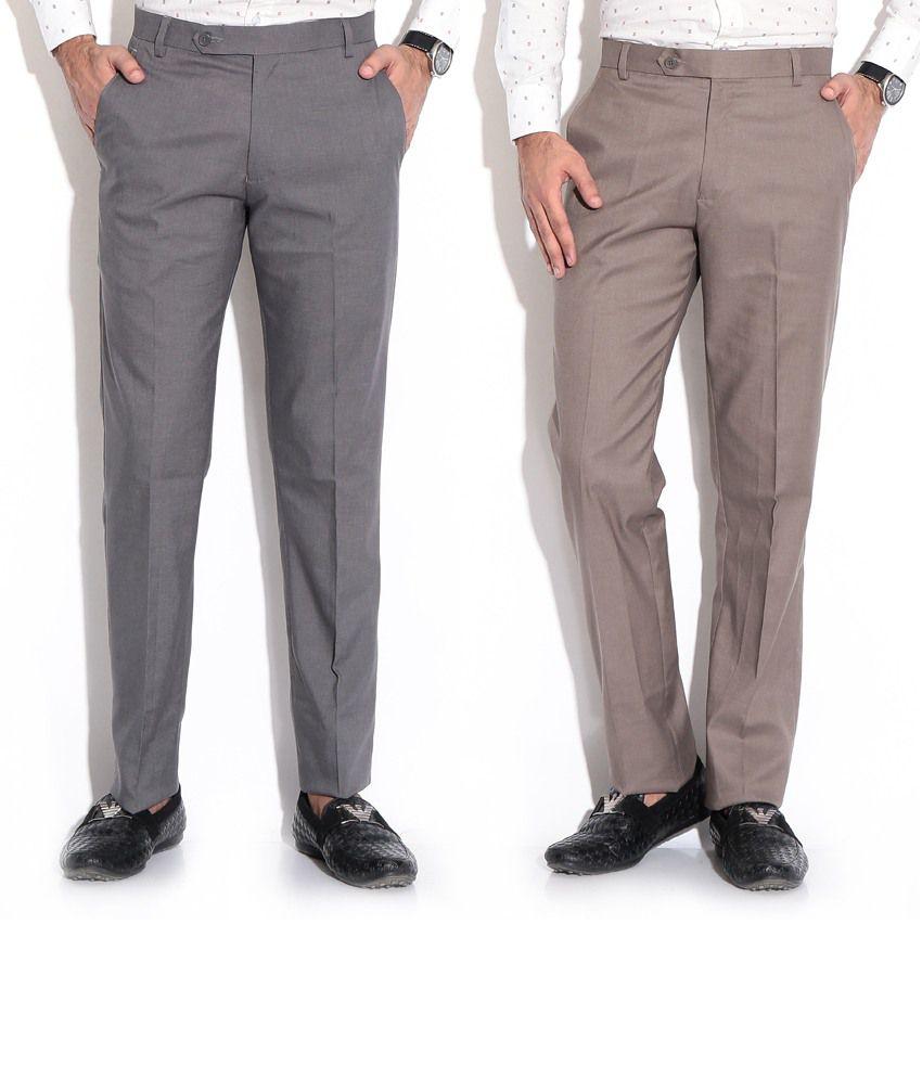 Fizzaro Gray Regular Formals Pack Of 2 Formal Trouser