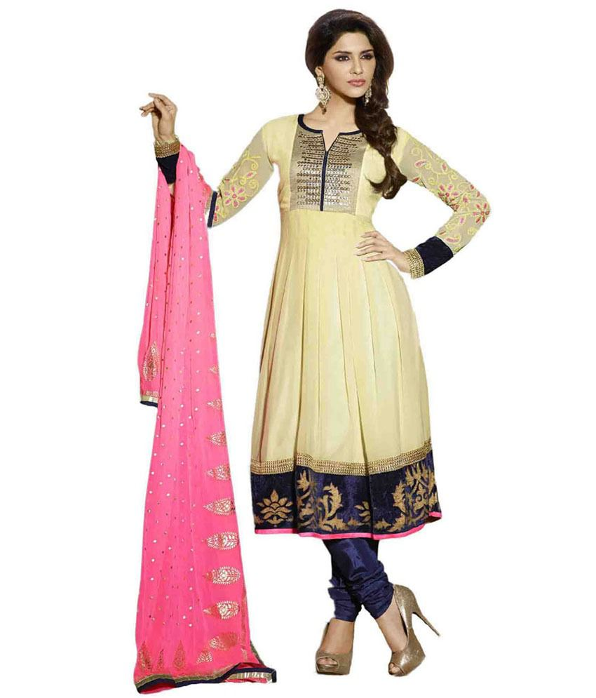 Anushree Yellow Georgette Unstitched Dress Material
