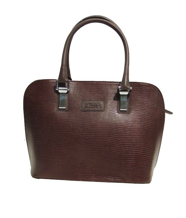 Mex Brown Lizard Print Handbag