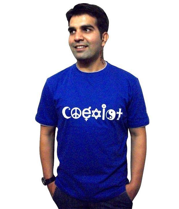 Schrotflinte International Blue Cotton Free Size Printed T-shirt