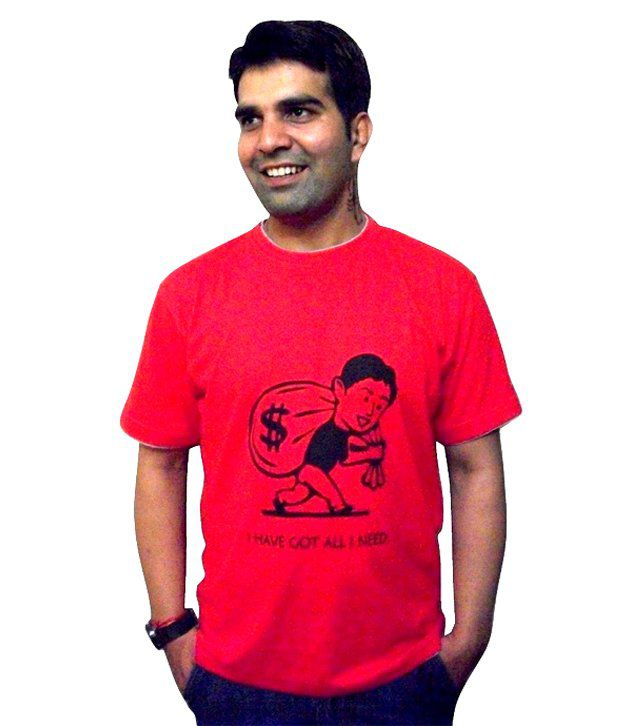 Schrotflinte International Red Cotton Free Size Printed T-shirt
