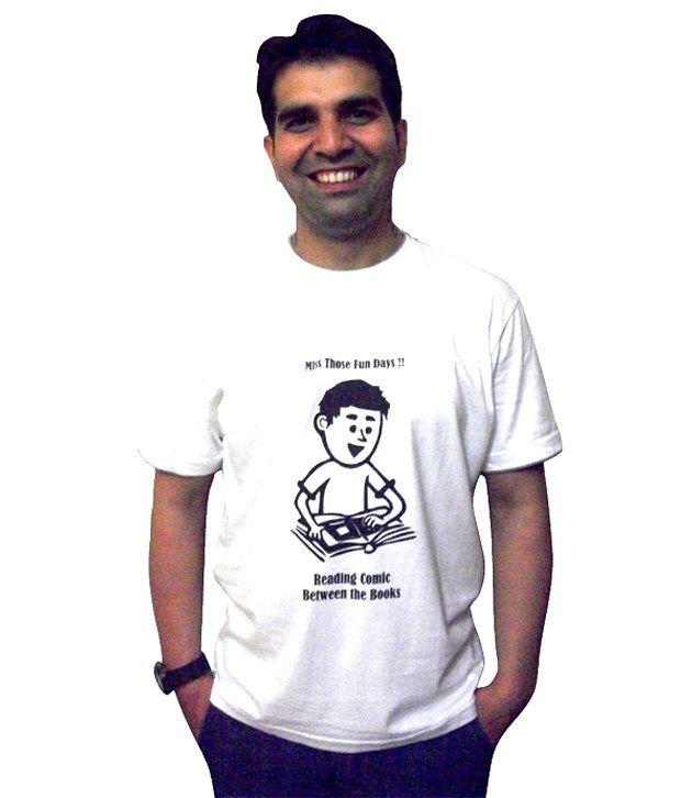Schrotflinte International White Cotton Free Size Printed T-shirt