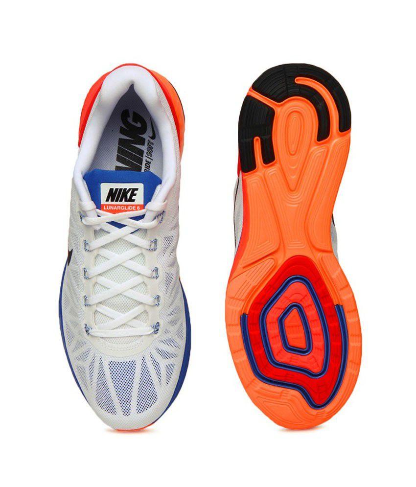 c01f7d14f008 Nike Lunar Glide 6 White Sports Shoes - Buy Nike Lunar Glide 6 White ...