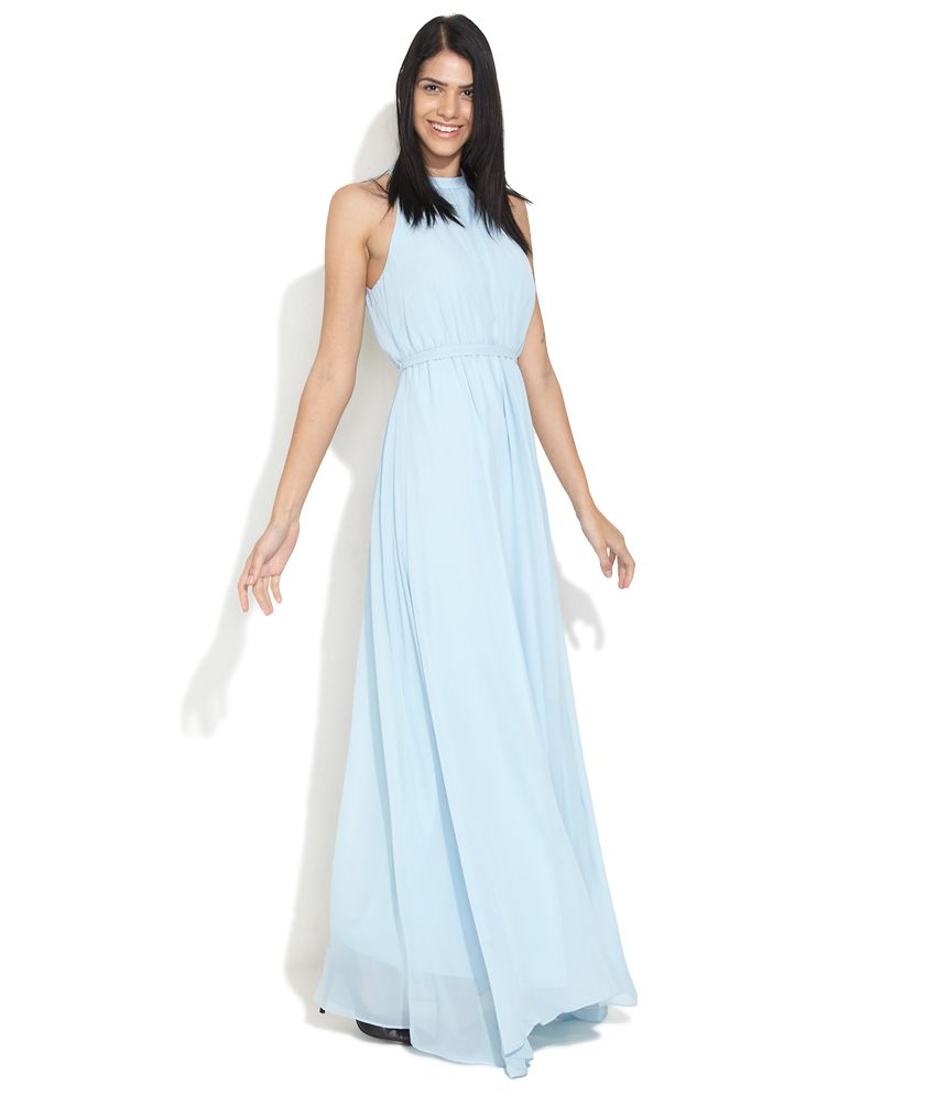 Avirate Sky Blue Halter Neck Maxi Dress