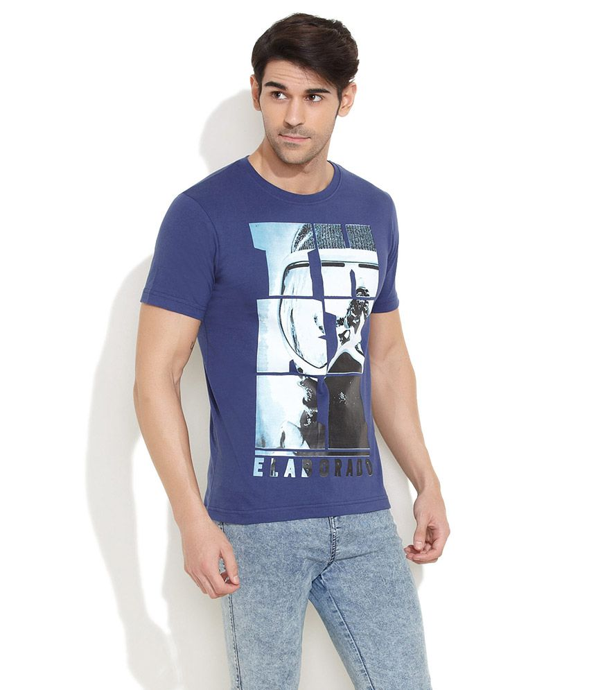 Elaborado Dark Blue Graphic Printed T-Shirt