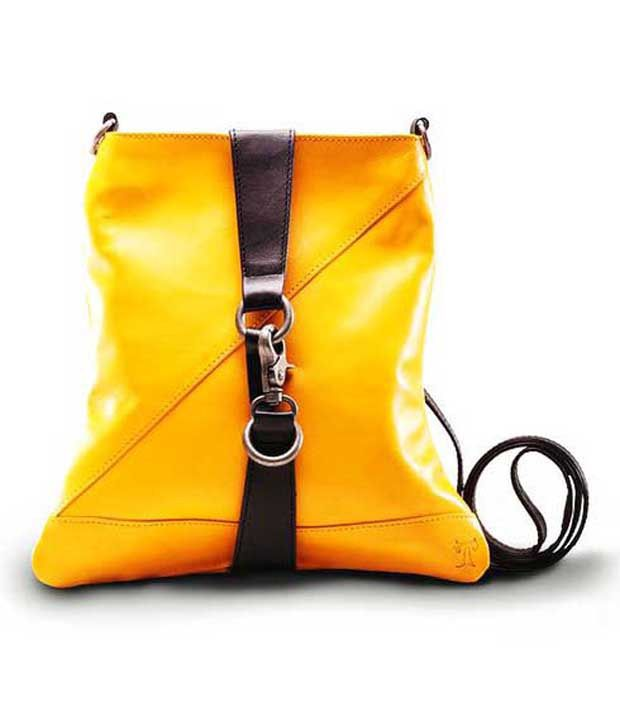 Twach Yellow Pure Leather Sling Bag