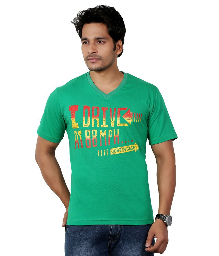 Black t shirt v shape -  Eco Trend Green Black Cotton V Shape Printed Biowash Half Sleeves Tshirt Combo Pack