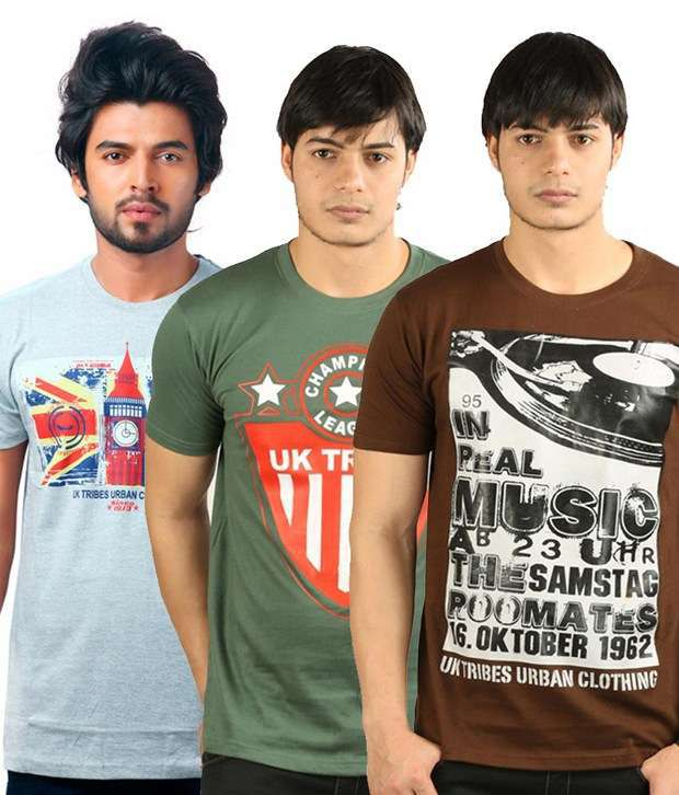 Uk Tribes Brown-green-grey Pack Of 3 T Shirts