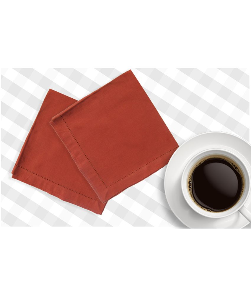 Airwill Red Plain Cotton Set Of 4 Napkins