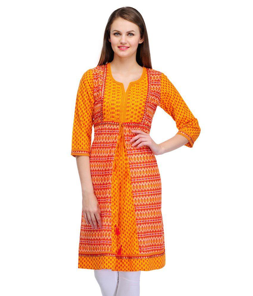 Ark Straight Printed Cotton 3/4 Sleeve Women's Kurti