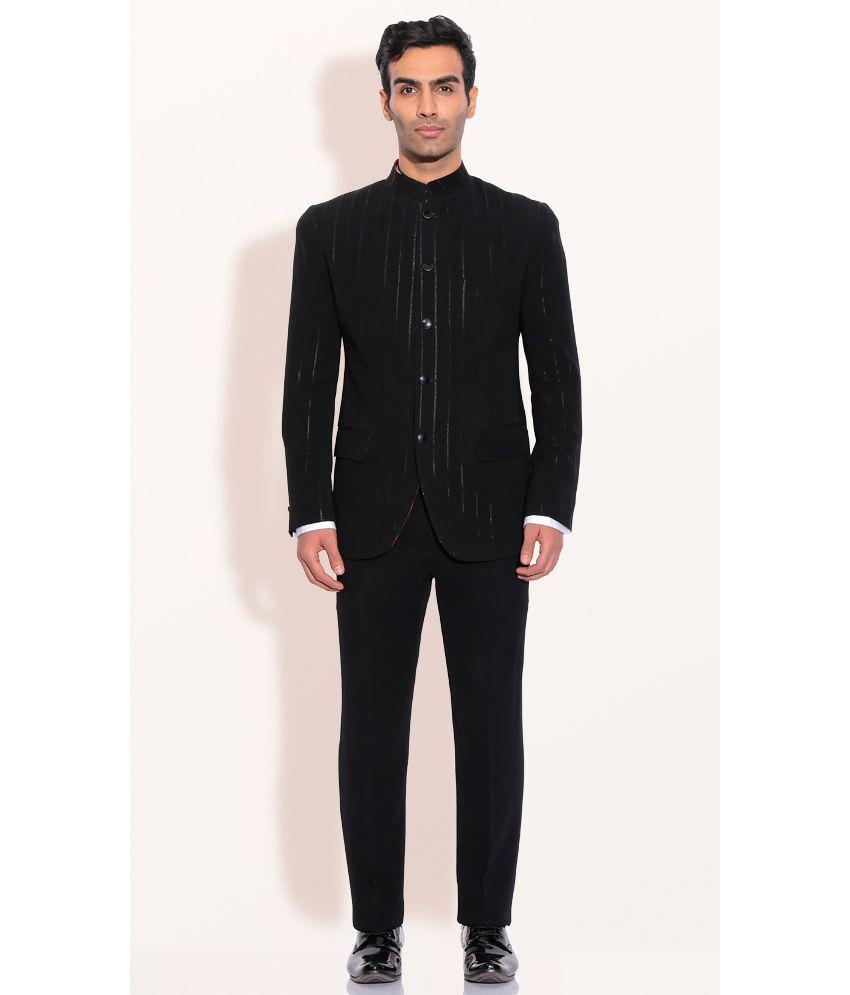 Designer Wear Black Polyester Mens Bandgala Jacket With Pants