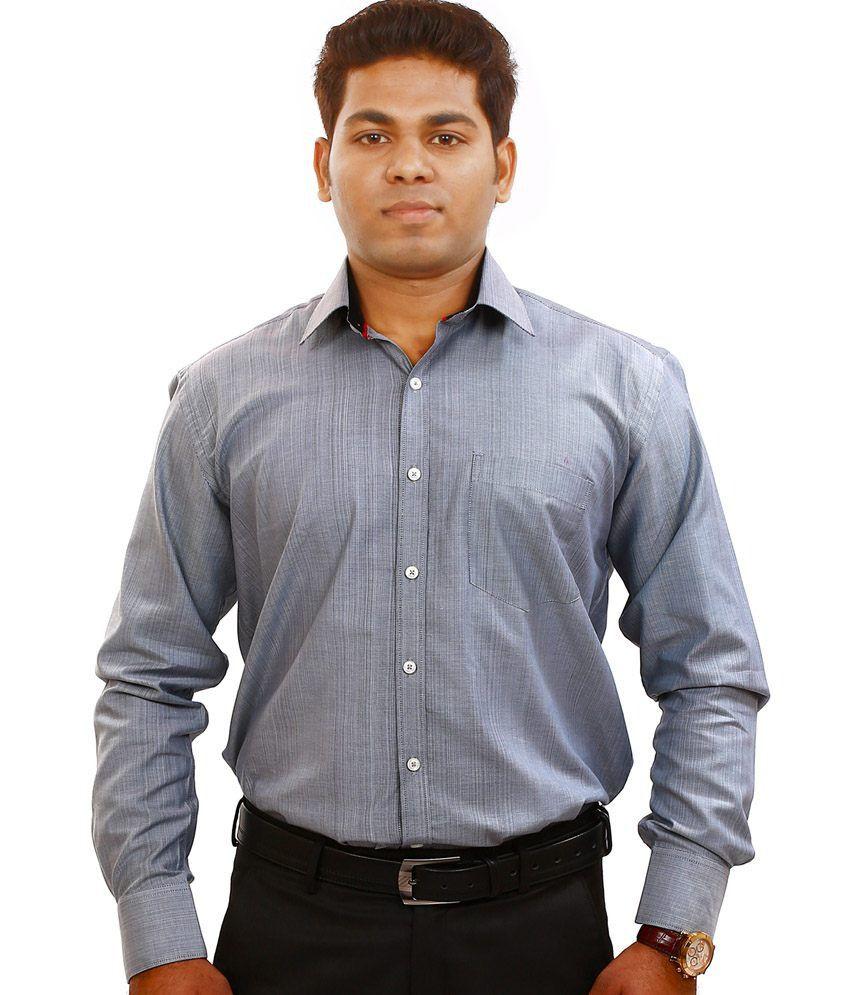 Iconic a comfort apparel 100 premium cotton gray slim fit for Trim fit tuxedo shirt