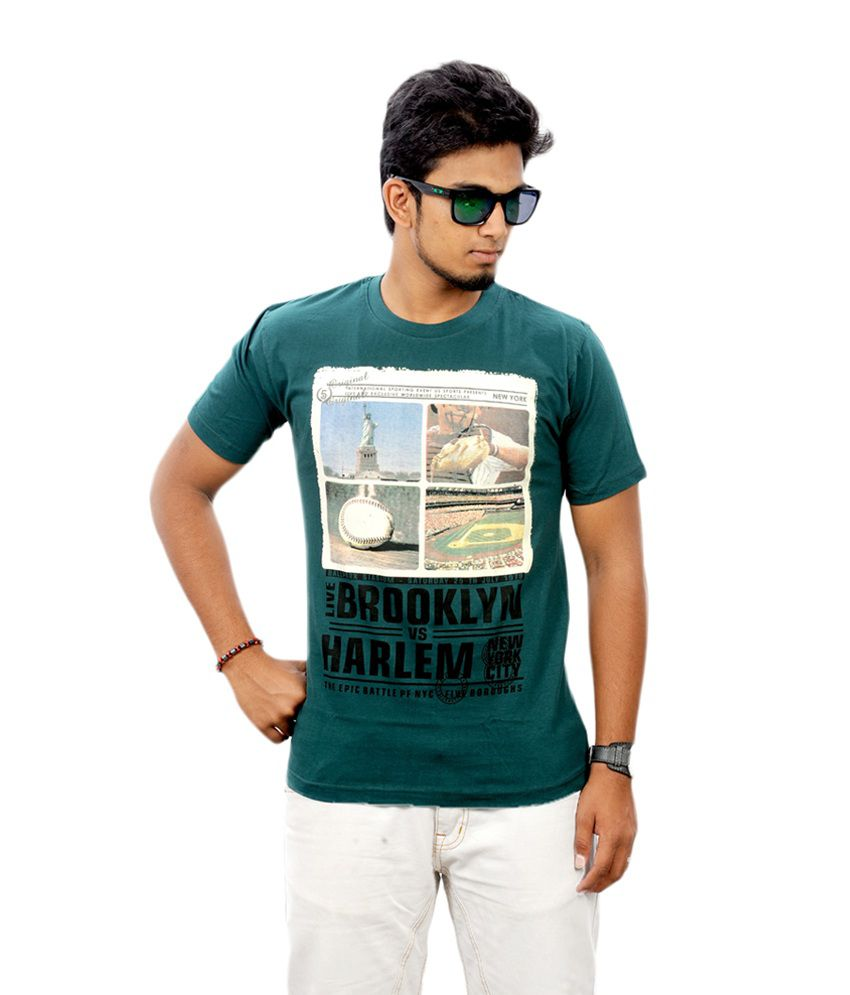 Stylefox Men Brooklyn Deep Green Cotton Graphic T-shirt