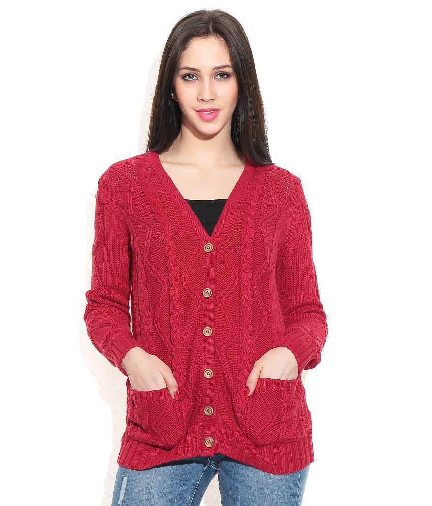 Vero Moda Red Cotton Buttoned Cardigan