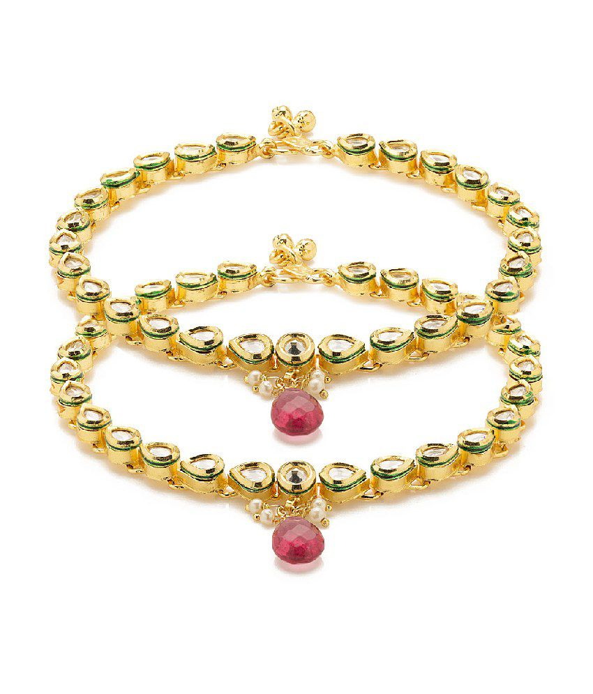 Voylla Drop Design Gold Plated Pair Of Anklets Adorned With Cz, Pink Color Stone And White Color Beads