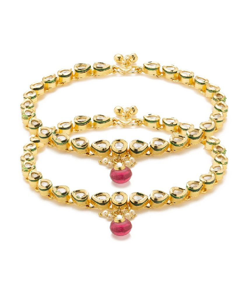 Voylla Gold Plated Anklets Pair Adorned With Cz And Pink Color Stone